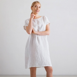 White Navy Stripe Medium Vestido de Lino Alice
