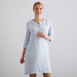 Sky Blue Pinstripe Vestido de Lino Layla