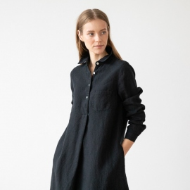 Negro Vestido de Lino Camilla