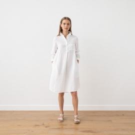 White Vestido de Lino Camilla