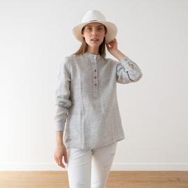 Silver Pinstripe Camisa de Lino Toby