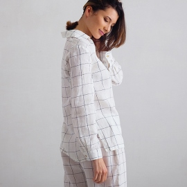 Off White Navy Window Pane Pijama de Lino Alma