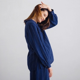 Navy Off White Stripe Pijama de Lino Alma