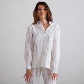 Off White Navy Stripe Pijama de Lino Alma