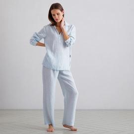 Sky Blue Pinstripe Pijama de Lino Alma