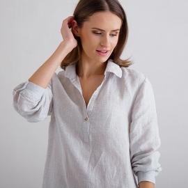 Off White Navy Window Pane Pijama de Lino Alma