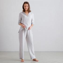 Silver Pinstripe Pijama de Lino Alma