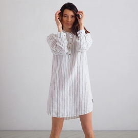 Off White Navy Stripe Medium Camisa de Nocha de Lino Alma