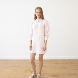 Pink Pinstripe Camisa de Nocha de Lino Alma