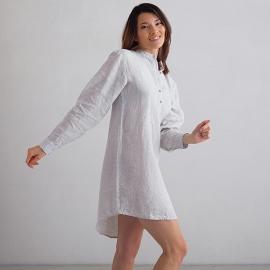 Silver Pinstripe Camisa de Nocha de Lino Alma