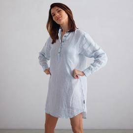 Off White Navy Check Camisa de Nocha de Lino Alma
