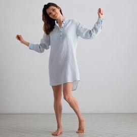 Sky Blue Pinstripe Camisa de Nocha de Lino Alma
