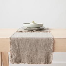 Mantel individual de lino de natural Terra con flecos hechos a mano