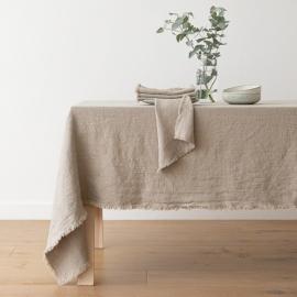 Mantel de lino natural Terra con flecos hechos a mano