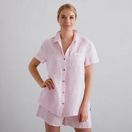 Pink Pinstripe Pijama de Lino Emilia