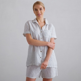 Off White Navy Check Pijama de Lino Emilia