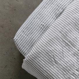 Graphite Sábana Encimera Profunda de Lino Ticking Stripe