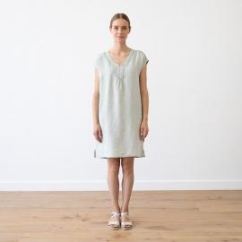 Moss Green Melange Vestido de Lino Alice
