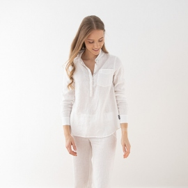 Blanco Camisa de Lino Fabio
