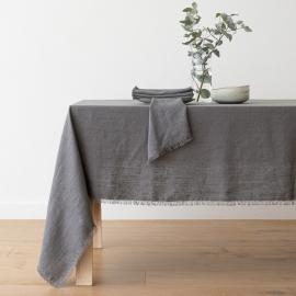 Mantel de lino de grafito Terra con flecos hechos a mano