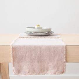 Mantel individual de lino de latte Terra con flecos hechos a mano