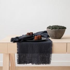 Mantel individual de lino de charcoal Terra con flecos hechos a mano