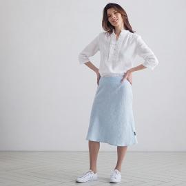 Sky Blue  Melange Falda de Lino Alma