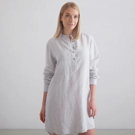 Silver Stripe Camisa de Nocha de Lino Alma