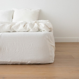 Off White  Washed Bed Linen Stone Washed  Deep Pocket Fitted Sheet