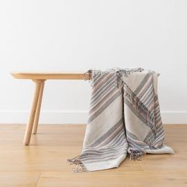 Tejido de lino natural de rayas índigo Paolo