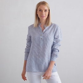 Navy Stripe Camisa de Lino Toby