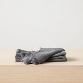 Servilleta de lino de grafito Terra con flecos hechos a mano
