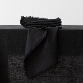 Servilleta de lino black Terra con flecos hechos a mano