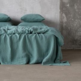 Moss Green Sábana Bajera Ajustada de Lino Stone Washed