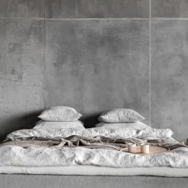 Silver Sábana Encimera de Lino Stone Washed Rhomb