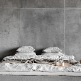 Sábana Bajera Ajustada de Lino Silver Stone washed Rhomb