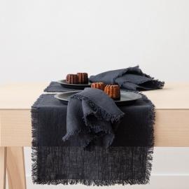 Servilleta de lino charcoal Terra con flecos hechos a mano