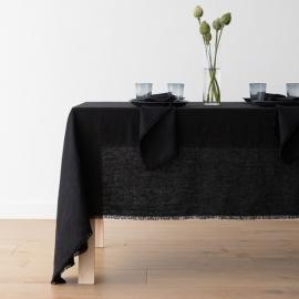 Mantel de lino black Terra con flecos hechos a mano
