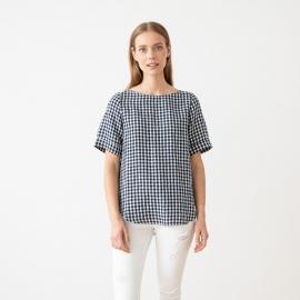 Navy White Check Camisa de Lino Luisa