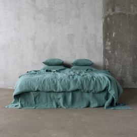 Moss Green Conjunto de Cama de Lino Stone Washed