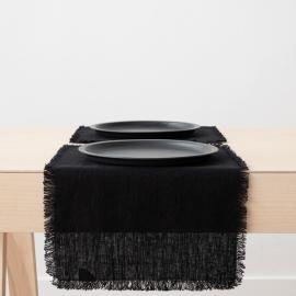 Mantel individual de lino de black Terra con flecos hechos a mano
