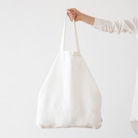 Bolsa de compras de lino Terra Off White