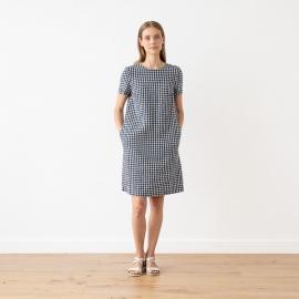 Vestido de Lino Navy Check Isabella