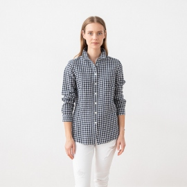 Camisa de Lino de Check Navy