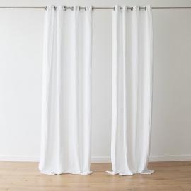 Panel de Cortina de Lino con Ojales Terra White