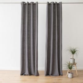 Panel de Cortina de Lino con Arandelas Terra Steel Grey
