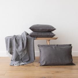 Lino Funda de Cojin Steel Grey Terra Fringe