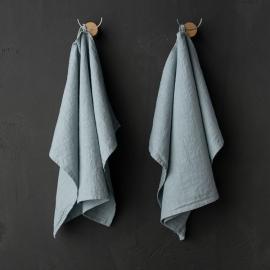 Set de 2 Ice Blue Mano Toallas de Lino Terra
