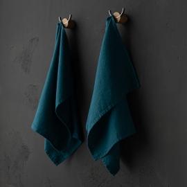 Set de 2 Marine Blue Mano Toallas de Lino Terra