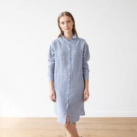 Vestido Camisero de Lino Blue White Gingham Paula